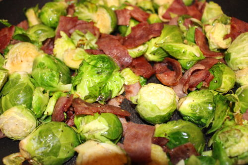Roasted Vegetables Brussel Sprouts and Turkey Bacon