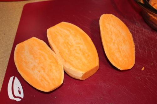 sweet potato cut lengthwise three ways