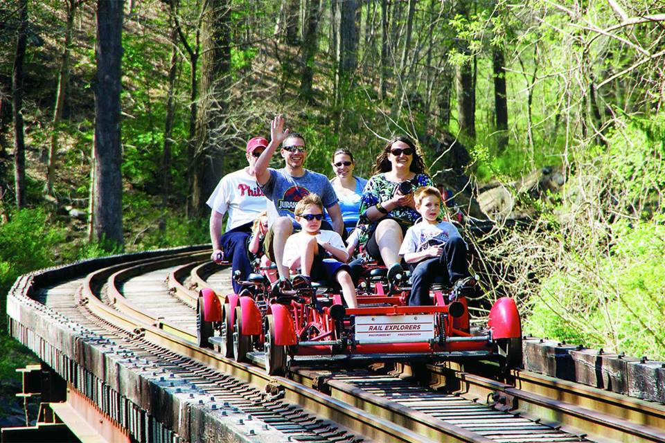 Enjoying the Rail Explorer Rail Bike