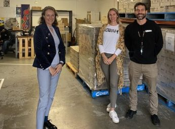 Dr Sarah Pearson at Sobah Beverages Brewery with founders Clinton and Lozen
