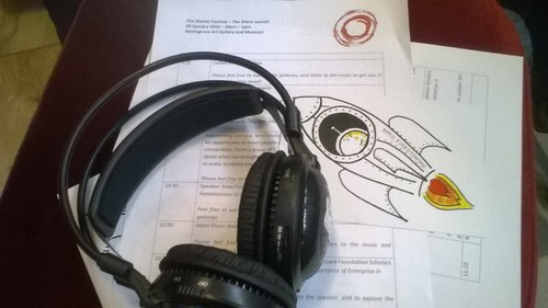 Headphones and papers at the Firestarter festival