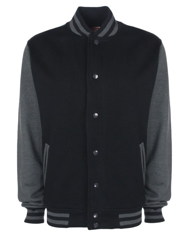 varsity jacket black/heather grey
