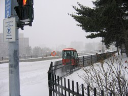 Plow out clearing sidewalks at Dominica Manor
