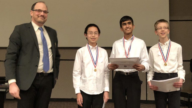 1st place, James Lian, Arin Khare, Kaie Vernooy, Iroquois MS