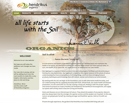 Redesigned site of Hendrikus Organics with new menu and sidebar