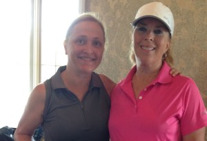 Losantiville CC players Carol Sarver on the left and Deb Altman on the right