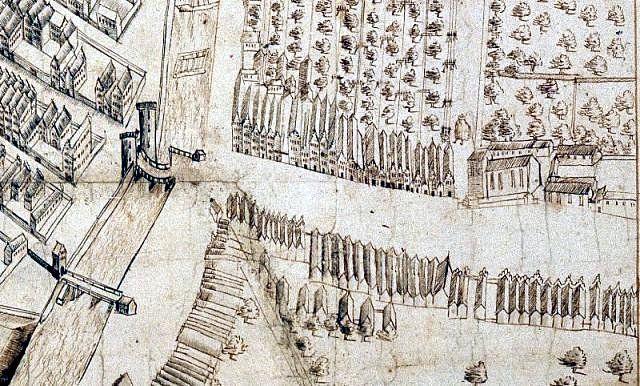 Długie Ogrody z kościołem św. Barbary i XVI-wiecznym pałacem po prawej stronie (fragment planu Gdańska z 1599 r. znajdującego się w Królewskim Archiwum Wojennym w Sztokholmie)