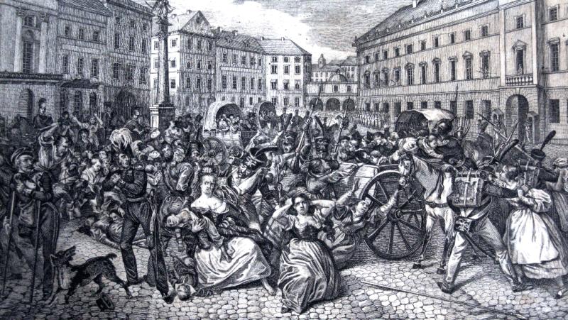 Porwanie polskich dzieci przez żołnierzy rosyjskich na Placu Zamkowym w Warszawie, 1831 rok.