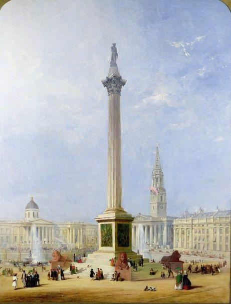 Widok na Trafalgar Square - George Henry Andrews, 1844