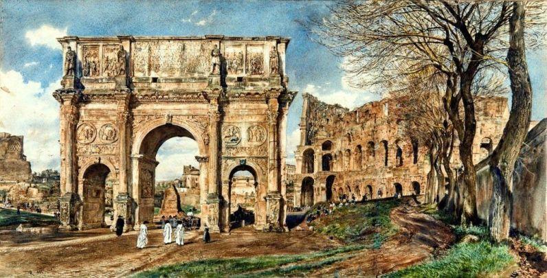 Łuk Konstantyna i Koloseum - Rudolf von Alt