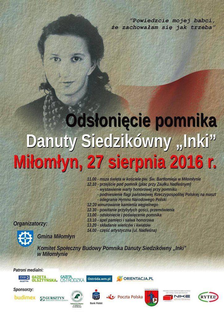 """Odsłonięcie pomnika Danuty Sieldzikówny """"Inki"""" w Miłomłynie."""