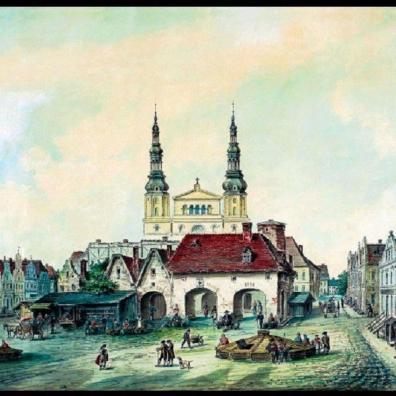 Widok na rynek z ratuszem po środku, ok 1813 ok.