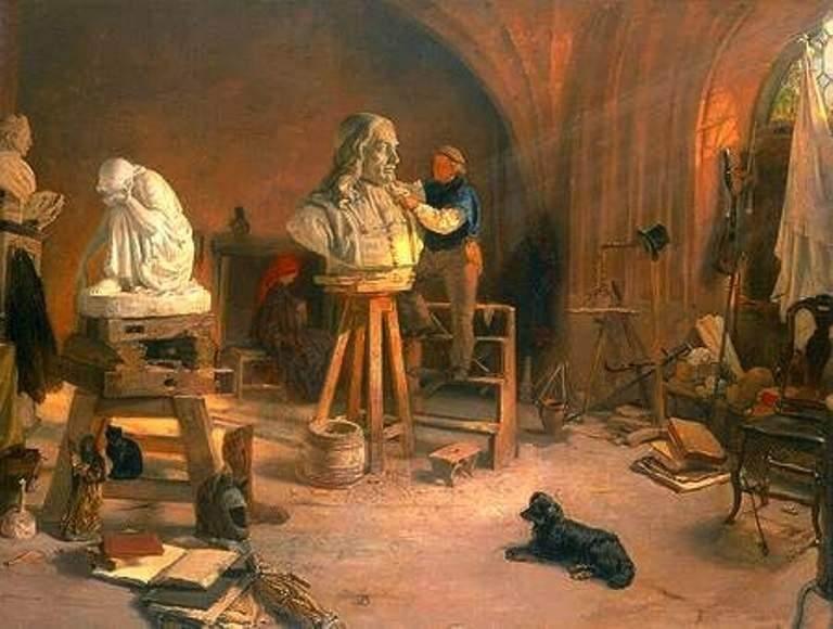 Freitag rzeźbiący popiersie Heweliusza, 1870 r.