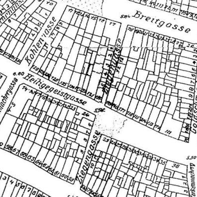 Ziegengasse, plan z 1935 r.