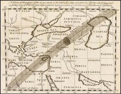 Pas zaćmienia z 585 r. p.n.e. na mapie Jamesa Mynde (1702–1771)