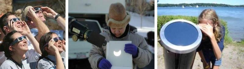 Bezpieczne metody obserwacji zaćmienia Słońca, od lewej: okulary zaćmieniowe, projekcja na ekran, filtr obiektywowy