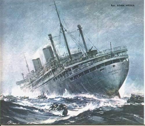 zatonięcie ms Piłsudski rys Adam Werka