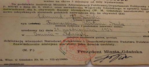 Zaświadczenie dla Edmunda Jankowskiego o złożeniu deklaracji wierności państwu polskiemu, 1945 r.