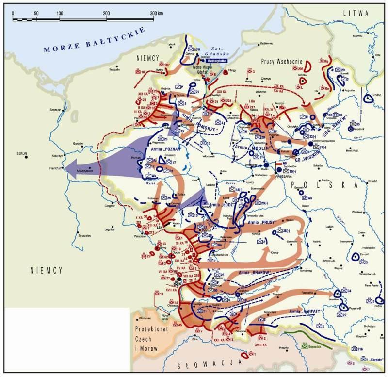 Mapa ilustrującą potencjalne skutki pójścia Armii Poznań w kierunku Odry