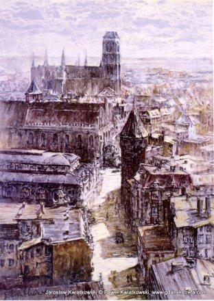 Panorama miasta z kościołem św. Mikołaja i bazyliką NMP