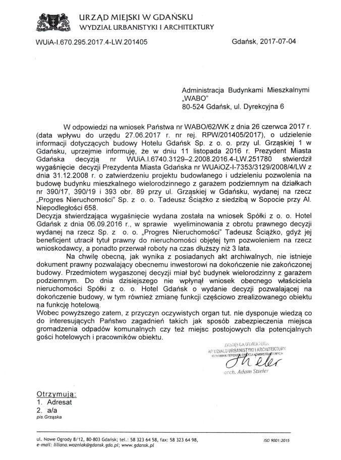 Pismo od Urzędu Miasta Gdańska z 4 lipca 2017 roku.
