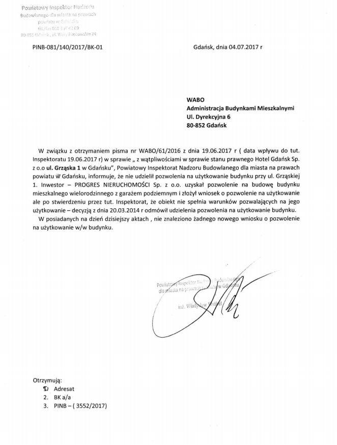 Pismo od inspektora nadzoru budowlanego z 4 lipca 2017 roku.
