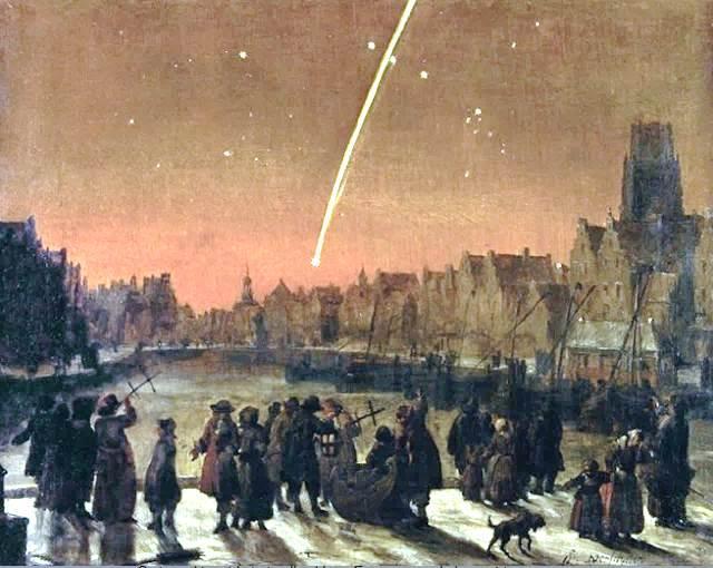 Kometa Kircha widziana z Rotterdamu na obrazie Lieve'a Verschuiera (1627–1686). Warto zwrócić uwagę na laski Jakuba używane do pomiaru długości kątowej warkocza.