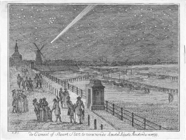Kometa Messiera nad Amsterdamem. Autor obrazu: Aert Schouman (1710-1792)