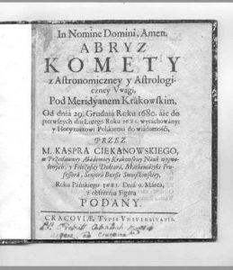 Strona tytułowa cytowanej pracy Kaspra Stanisława Ciekanowskiego