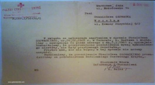 odpowiedź Polskiego Czerwonego Krzyża z 9 sierpnia 1965 r.