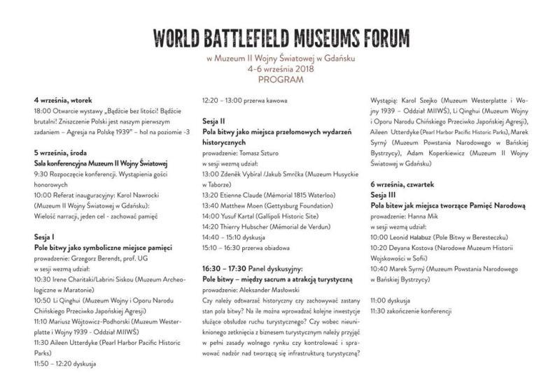 Program Światowego Forum Muzeów Pól Bitewnych