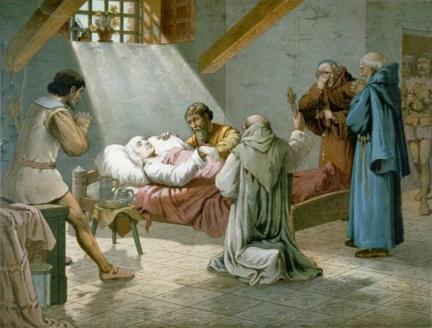 Śmierć Krzysztofa Kolumba na litografii z roku 1893.