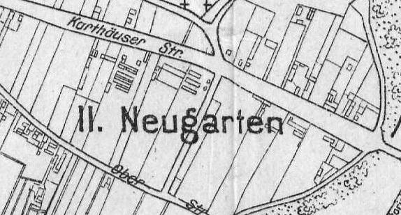 kala zabudowy rejonu Nowych Ogrodów II. Źródło: Plan der Stadt Danzig 1920, (igrek.amzp.pl).