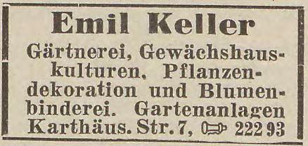 Reklama zakładu ogrodniczego z lat wojny (1942r.). Źródło: EWB 1942.
