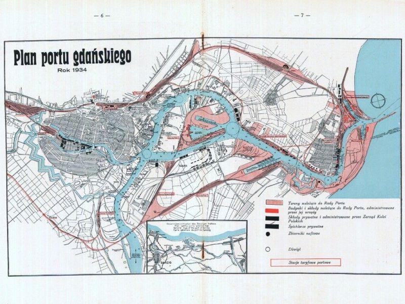 Plan portu gdańskiego z roku 1934