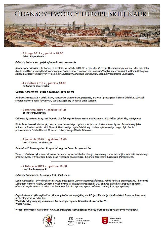 """program cyklu wykładów""""Gdańscy twórcy europejskiej nauki"""""""