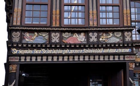 Detal zrekonstruowanego w 1986 roku domu mieszczańskiego Wedekindhaus