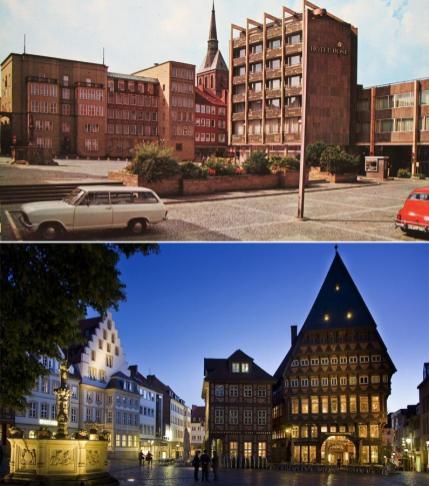 Markplatz w roku 1970 i współcześnie.