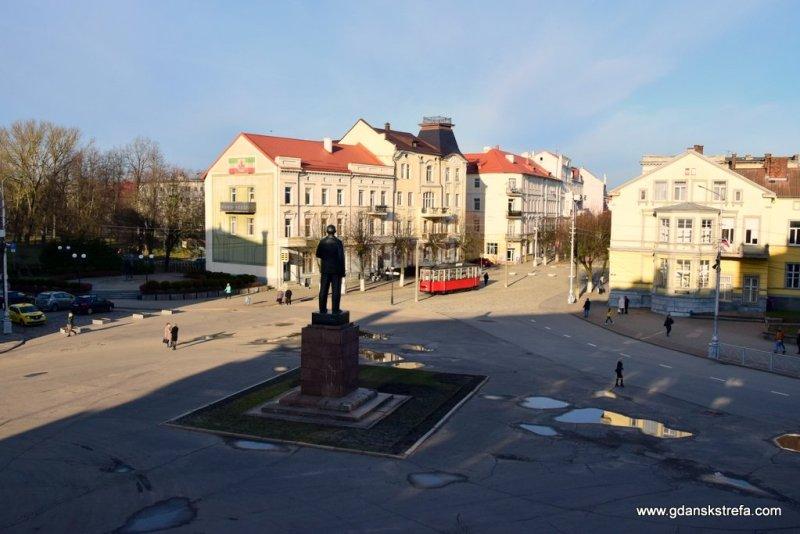 Widok na Lenina i główny plac w Tylży (Sowieck)
