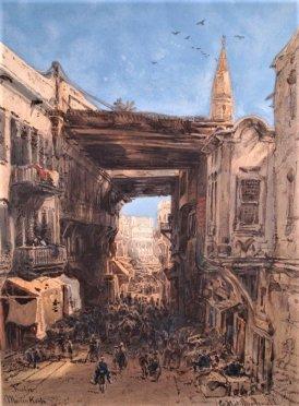 """Pochmurna ulica w Kairze"", chromolitografia"