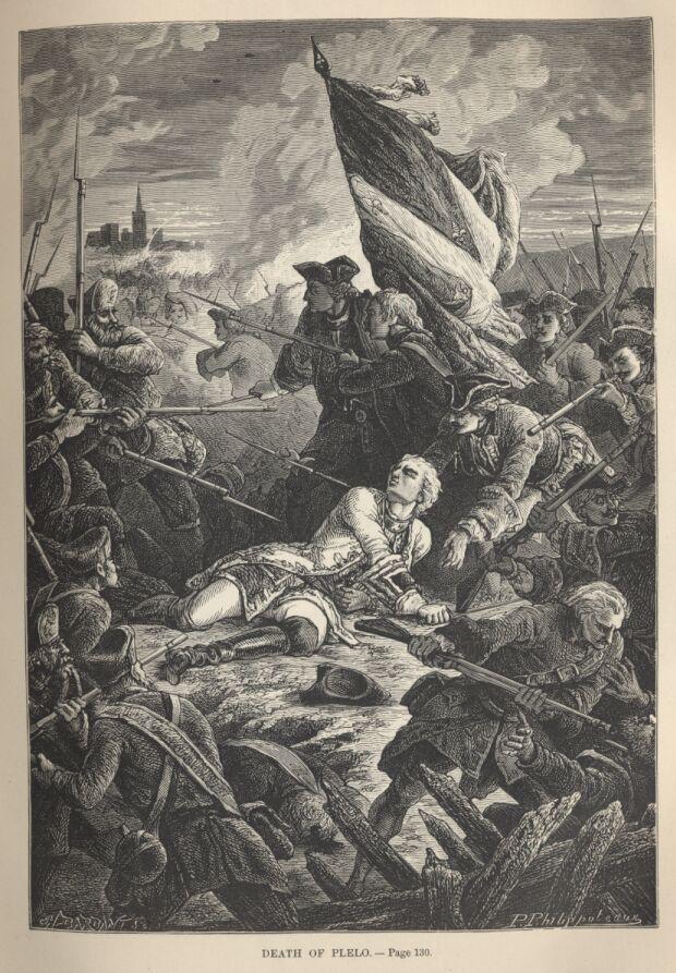 hrabia Plelo ginie na Westerplatte 1734, grafika Paul Philipoteaux domena publiczna
