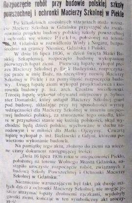 Artykuł w Straży Gdańskiej z 1.08.1936 (za S. Szwentner 1966, Polacy z Piekłą rodem)