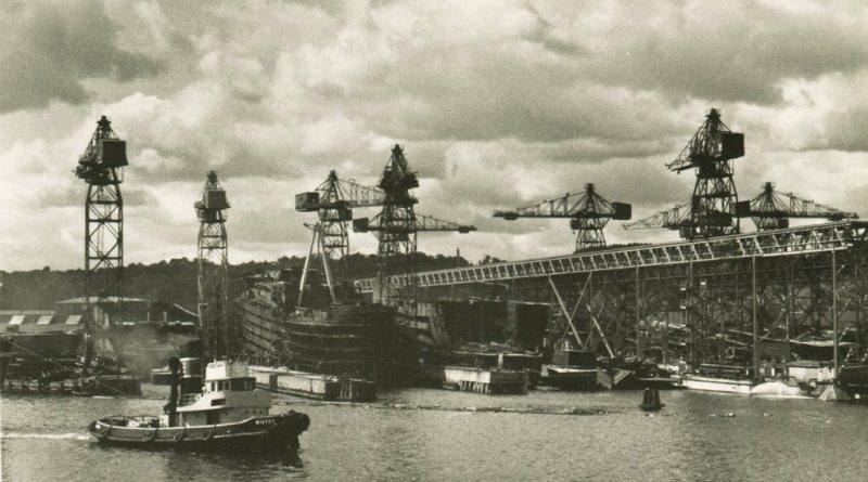 Stocznia Gdańska pochylnie wydziału K-3 lata 50. XX w.