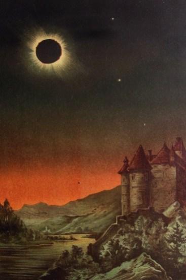 """Zaćmienie Słońca, autor: E. Weiss z """"Bilderatlas der Sternenwelt"""""""