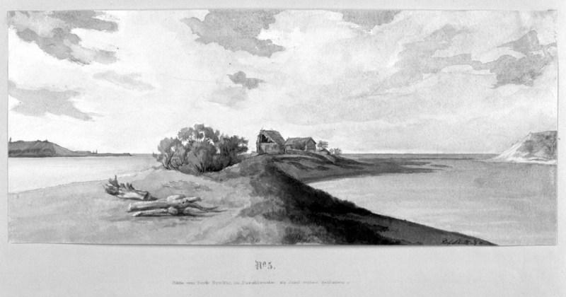 5 - Wysepka, która powstała po przełomie, widok od strony południa; prawdopodobnie mieściły się tu stajnie, po obu stronach przerwane wydmy, w głębi wody Bałtyku, obecnie droga na groblę Ptasiego Raju. Woda nie uregulowała brzegu, stąd w 1887-88 zbudowano groblę.