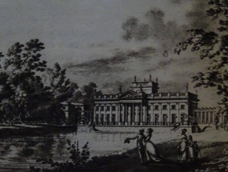 """Łazienki, pałac na Wodzie, elewacja południowa, J. Ch. Kamsetzer, 1788 r. """"Klasyzyzm w Polsce"""" St. Lorentz, A. Rottermund"""