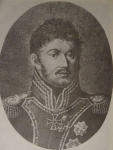 """Ks. Józef w stroju generała wojsk polskich. Litografia Rostmastlera. """"Ks. J. Poniatowski"""", J. Skowronek."""