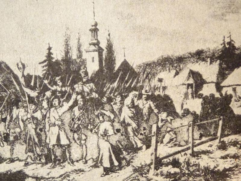 Wymarsz oddziału powstańczego z Grodna