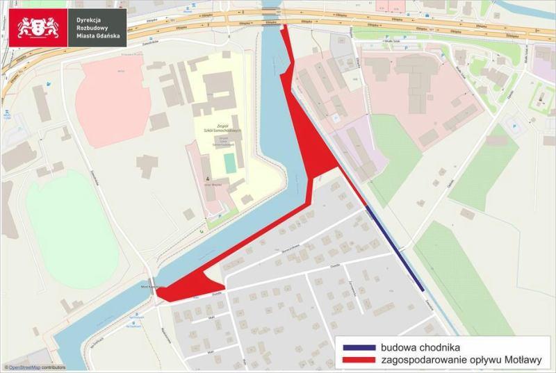 Mapa inwestycji nad Opływem Motławy