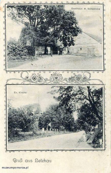 Dwuobrazkowa pocztówka z miejscowości Leszkowy. Na zdjęciu górnym gospoda Maxa Schatzke (budynek ten mógł być zlokalizowany przy głównej drodze wiejskiej,mniej więcej na terenie dzisiejszej posesji nr 17). Na zdjęciu dolnym zasłonięty drzewami kościół.